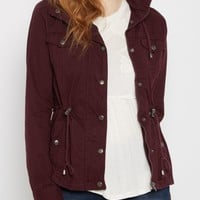 Olive Hooded Zip-Down Twill Jacket | Anorak & Twill Jackets | rue21