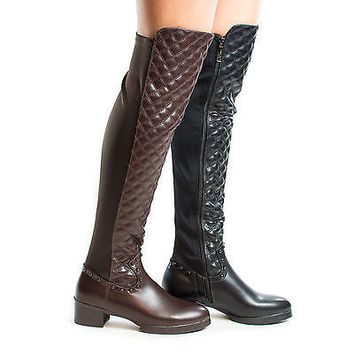 Demy1 Quilted Over The Knee Studded Block Heel Zip Up Riding Boots