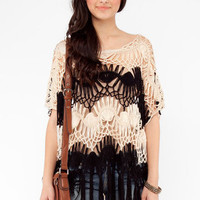 Crochet and Fringe Top in Biege and Black :: tobi