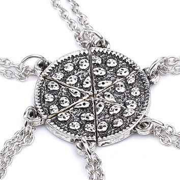 6pcs Pizza Pendant Necklaces Friendship Necklace Best Friends Forever Handmade Puzzle Chain Necklace Set Food BFF Jewelry 2016