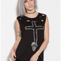 Peace Cross Destroyed Muscle Tee