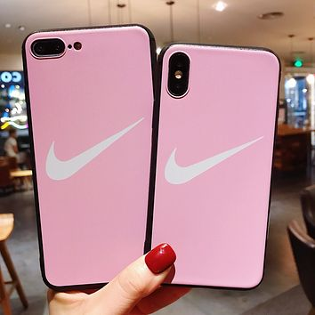 NIKE Tide brand personality couple models iphone8plus mobile phone case cover pink