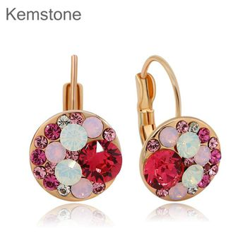 Cute Multi Color Rhinestone Round Stud Earrings Gold-color for Women Teen Girl