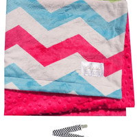 "Baby Laundry 91329 Soft Minky Hot Pink Chevron Baby Blanket 36""x30"" with Pacifier Clip"