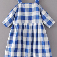 Blue Plaid Cold Shoulder Gingham Dress