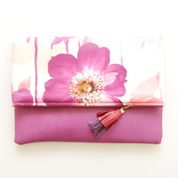 FLORALS / Cotton & Leather clutch - Ready to Ship