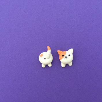 Peaches Neko Atsume Earrings - Mismatched Stud Earrings - Peaches Earrings Head and Butt