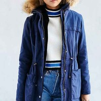 Faux Fur Hooded Field Jacket