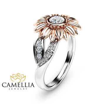 Two Tone Gold Sunflower Engagement Ring Sunflower Diamond Ring Unique Engagement Ring Diamond Flower Ring