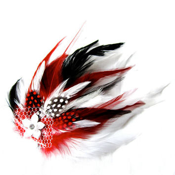 Bridal Feather Fascinator Red White and Black by FeatherFunded