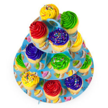Blue 3 Tier Cupcake Stand, 14in Tall by 12in Wide