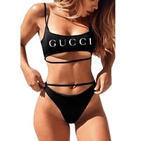Balenciaga+Lv+Gucci+Fendi Two Piece Strappy Bikini Swimsuit