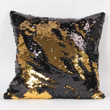 Double Color Glitter Sequins Throw Pillow  Cafe Home Decor Cushion