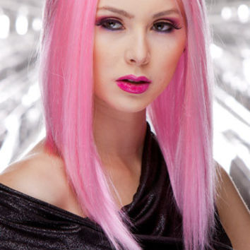 Cotton Candy Pink Medium Length Wig