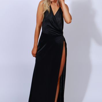 Glam Goals Halter Maxi Black