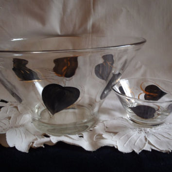 Glass Bowl Black and Gold for Chips and Dip , Vintage Serving Bowl  with Black and Gold Leaves