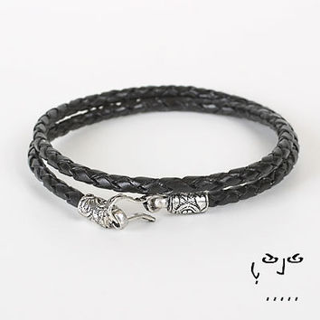 VujuWear Thick 3mm Braided Black Men's Wrap Leather Bracelet II