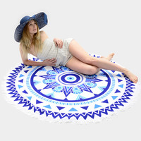 Round Tribal Print Tassel Beach Blanket Towel
