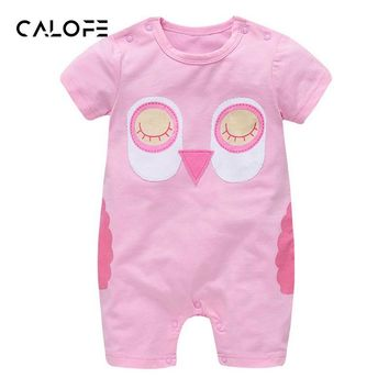 CALOFE Summer Short Sleeve Baby Rompers New Born Infant Cute Cartoon Owl Girl Boy Clothing Jumpsuits Converall Clothes
