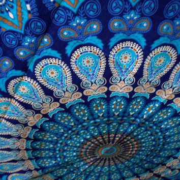 Large Indian Blue Mandala Tapestry Hippie Hippy Wall Hanging Indian bedspead Throw Bedspread Dorm tapestry