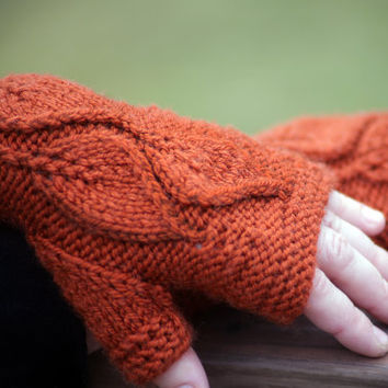 LEAVE-ME-NOT knitting pattern - fingerless gloves/mitts with leaves  - 3 sizes / 2 knitting methods