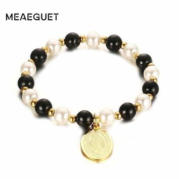 Meaeguet Classic Beads Hand Chain For Women Virgin Mary Bracelets&Bangles Gold-Color Female Elastic Bangle Bracelet
