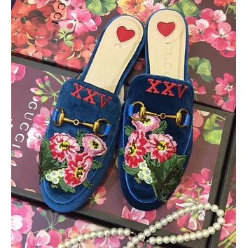 GUCCI Fashion Women Velvet Flower Embroidery Flat Shoes Sandals Slippers I-ALS-XZ