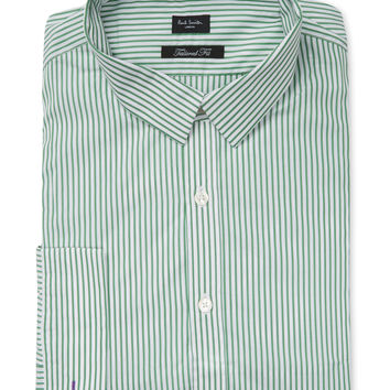 Paul Smith London Men's Striped Cotton Tailored Shirt - Green -