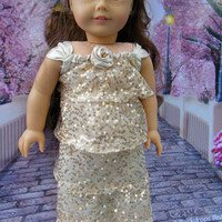 Golden Shimmer, contemporary sequined evening gown(18 inch) prom dress, holiday dress, etc. OOAK for American Girl doll