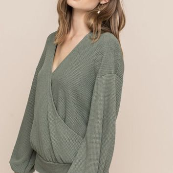 Olive Wrap Sweater