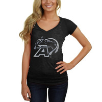 My U Army Black Knights Women's Vintage Logo Burnout V-Neck T-Shirt - Black