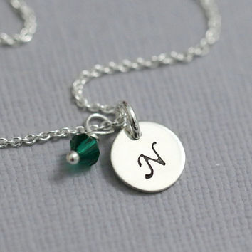 Sterling Silver Initial Necklace with Birthstone Crystals, Birthstone Necklace, Bridesmaid Necklace