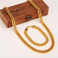 Men Chain Necklace  10mm Chunky Luxury Gold Filled Curb Cuban Chains Necklace Thick Heavy Link Chain men jewelry Customiz gift