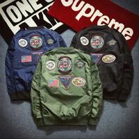New MA1 Pilot Jackets kanji Black Green Flight Japanese MA-1 Coats Jackets Male Clothing Outwears
