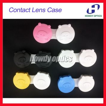 100pcs Wholesale Lovely Pig Contact Lens Case Contact Lenses Case Contact Lens Box Free Shipping