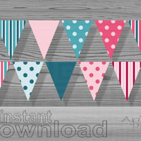 pink teal bunting banner printable party garland DIY birthday, baby shower, welcome, gender reveal party  decorative party banner