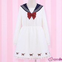 Reservation! Sailor Moon Luna Printing Sailor Dress with Ribbon Necklace SP151690