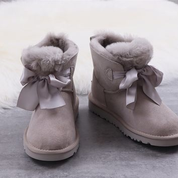 Ugg winter bow-knot boots women's gray shoes