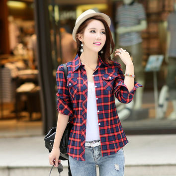 Casual Button Down Lapel Neck Plaids Checks Flannel Shirts Women Long Sleeve Tops Blouse free shipping
