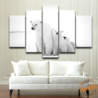 5 Piece Wall Art Polar Bear Painting Lovely Family Animal Painting Modern Home House Decoration Canvas Prints No Frame