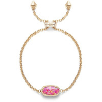 Kendra Scott: Elaina Adjustable Chain Bracelet In Fuchsia Kyocera Opal