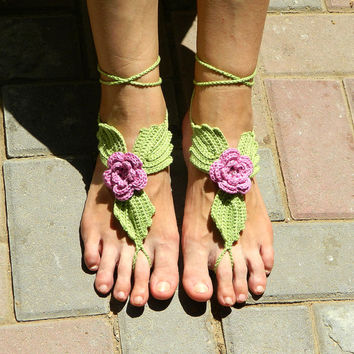 Fairy Princess crochet barefoot sandals for elfin wedding beach wedding yoga bridal bridesmaid