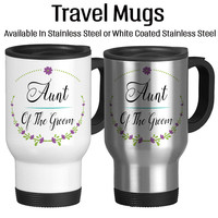 Aunt Of The Groom, Wedding Party Gift, Gift For Bridal Party, Travel Mug, Coffee Cup, 14oz, Floral Art, Custom Cup, Typography,