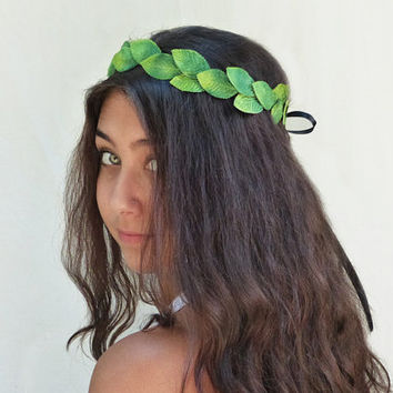 St. Patricks Day Emerald Green Leaf Crown - Fairy, Greek, Leaf Hair Wreath, Unisex, Leaf Crown, Toga, Flower Girl, Leaf Tiara, Leaf Tiara