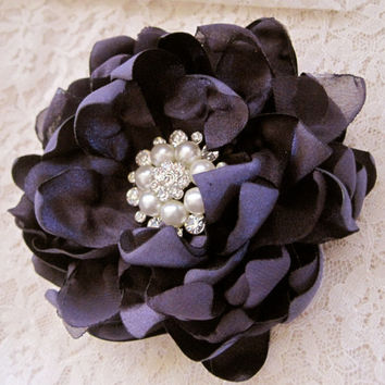 Plum Eggplant Purple Satin Chiffon Bridal Flower Hair Clip Bride Mother of the Bride Bridesmaid with Gorgeous Rhinestone Pearl Brooch Accent