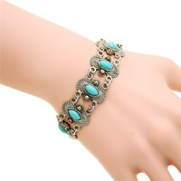 Bohemian Stylish Sexy Hollow Out Stone Studded Bracelet Wrist Band  (Color: Green)