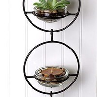 Triple Metal and Glass Hanging Wall Terrarium / Candle Holder