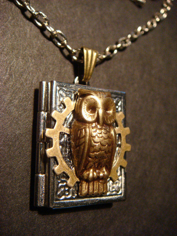 Victorian Style Steampunk Owl  with Gear Locket by CreepyCreationz