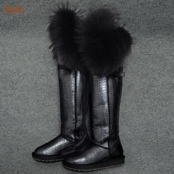 new fashion thigh cow suede leather suede natural fox fur over the knee long winter snow boots for women high winter shoes