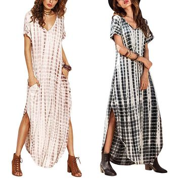 FreeShip Summer Women Dresses 2018 Tie Dye Print Side Split Loose Long Dress Curved Hem V Neck Short Sleeve Maxi Dress Plus Size